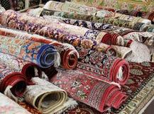 Oriental carpets. Oriental carpet in an Arabian bazaar Royalty Free Stock Photo