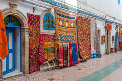 Oriental carpets and fabrics in Essaouira Stock Photos