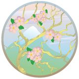 Oriental cherry against mountain Royalty Free Stock Images