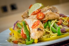 Oriental Chicken And Noodle Dish Royalty Free Stock Photos