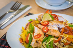 Oriental chicken and noodle dish Royalty Free Stock Photo