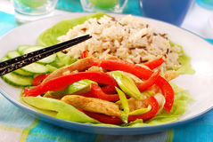 Oriental chicken with vegetables Royalty Free Stock Images