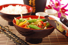 Oriental chicken with vegetables stock images