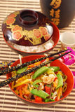 Oriental chicken with vegetables royalty free stock photo