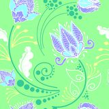 Oriental Chinese botanical flower graphic design for motif in Porcelain style seamless pattern with pastel tone. And light pastel green background Stock Photo