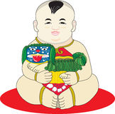 Oriental Chinese boy. An oriental Chinese baby boy holding an oriental dog royalty free illustration