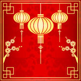 Oriental Chinese Lantern Illustration. Oriental Chinese Lantern cherry blossom background Royalty Free Stock Photos