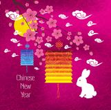 Oriental Chinese New Year background with lantern, rabbit and blossom Royalty Free Stock Photo