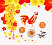 Oriental Chinese New Year background with lantern, tea and cake Stock Images