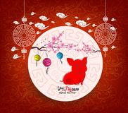 Oriental Chinese New Year 2019 blossom and lantern background. Year of the pig.  Stock Images