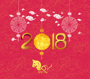Oriental Chinese New Year 2018 lantern background. Year of the dog Stock Photos