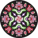 Oriental Chinese traditional lotus flower butterfly circle pattern Stock Photo
