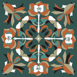 Oriental Chinese traditional lotus flower goldfish square pattern Stock Photo