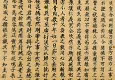 Oriental Chinese Writing Background. Rows of random Chinese characters on old, yellowed rice paper. Characters also used by Koreans and Japanese (kanji Stock Photo
