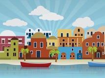 Oriental city illustration Stock Images
