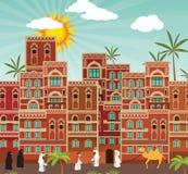 Oriental city. Vector illustration of arab city