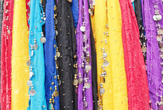 Oriental cloths. Colorful oriental cloths with metal coins and beads used for belly dancing Royalty Free Stock Images