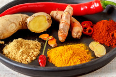 Oriental colorful mix of fresh and dry spices Stock Photo
