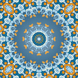 Oriental colorful ornament in blue and orange Royalty Free Stock Image