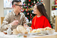 Oriental Couple at Christmas stock photo