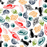 Oriental cuisine dishes and sake seamless pattern Stock Photos