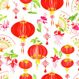 Oriental culture objects watercolor seamless vector pattern Stock Image