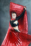 Oriental dancer. Beautiful oriental dancer woman in black costume Royalty Free Stock Images