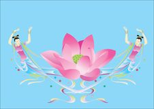 Oriental Dancers And Lotus. Illustration of oriental dancers and lotus Royalty Free Stock Image