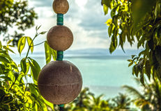 Oriental decoration on tropic landscape Royalty Free Stock Photography