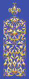 Oriental decorative element. Zentangle gold on a blue background. Vector illustration Royalty Free Stock Photo