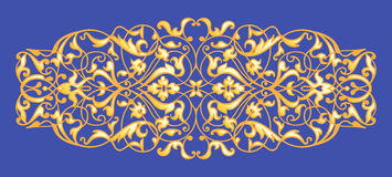 Oriental decorative element. Zentangle gold on a blue background. Vector illustration Royalty Free Stock Photography