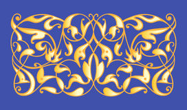 Oriental decorative element. Zentangle gold on a blue background. Vector illustration Stock Photography