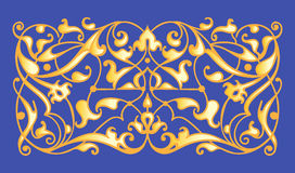 Oriental decorative element. Zentangle gold on a blue background. Vector illustration Stock Photo