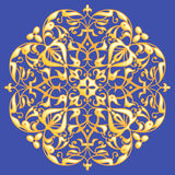 Oriental decorative element. Zentangle mandala gold on a blue background. Vector illustration Royalty Free Stock Image