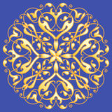 Oriental decorative element. Zentangle mandala gold on a blue background. Vector illustration Stock Photo