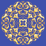 Oriental decorative element. Zentangle mandala gold on a blue background. Vector illustration Stock Image