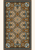 Oriental design in the frame for carpet. Picture of old carpet with the details of the ethnic ornament Stock Photo
