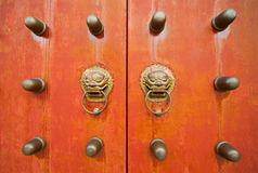 Oriental door and knobs Royalty Free Stock Photos