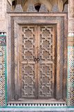 Oriental Door in Madarsa at Fes, Morocco Royalty Free Stock Photo