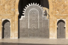 Oriental doors Hassan II Mosque, Casablanca Stock Photography