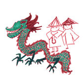 Oriental dragon. 1012 is year of dragon.This image was hand drawn by myself, about 12 years ago vector illustration