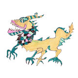 Oriental dragon. 1012 is year of dragon.This image was hand drawn by myself, about 12 years ago Stock Image