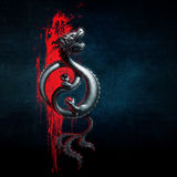 Oriental Dragon Yin-Yang Red Blue Royalty Free Stock Images