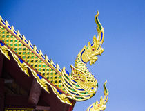 Oriental dragons. Myth oriental dragons in Thai temple Royalty Free Stock Images