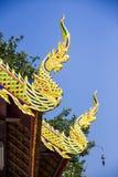 Oriental dragons. Myth oriental dragons in Thai temple Royalty Free Stock Photo