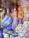 Oriental embroidied pots, Iran royalty free stock image