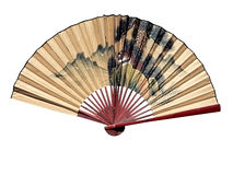 Oriental fan. Photo of a chinese oriental fan isolated over a white background via a clipping path stock photos