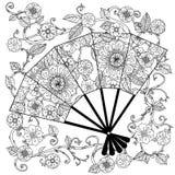 Oriental fan zentagle Stock Photo