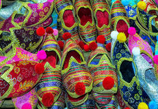 Oriental fashion footwear at market Royalty Free Stock Image