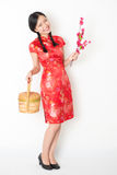 Oriental female in red qipao holding gift basket Stock Photos